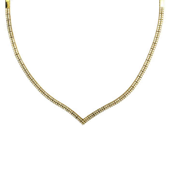 Χρυσό κολιέ αρραβώνα σε V δίσειρο με ζιργκόν Κ14 024484 024484 Χρυσός 14 Καράτια