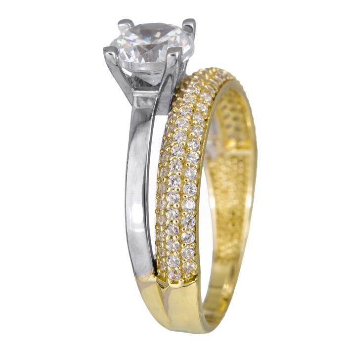 Δίχρωμο δαχτυλίδι διπλό μονόπετρο - ολόβερο Κ14 024487 024487 Χρυσός 14 Καράτια