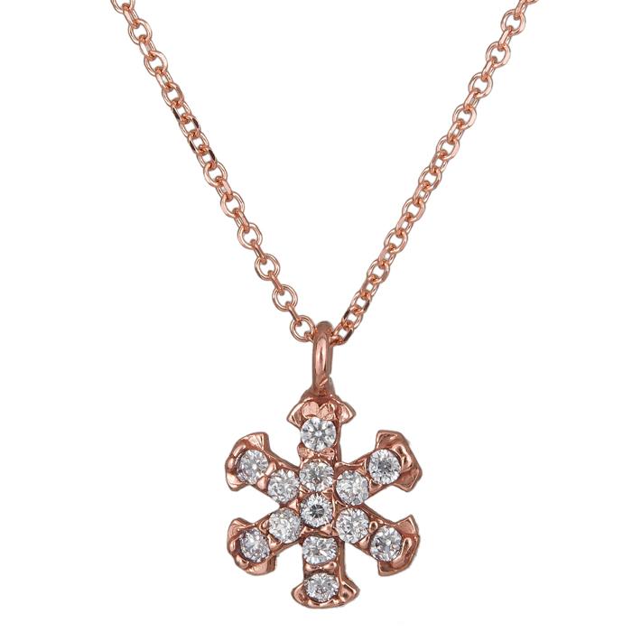 Γυναικείο κολιέ ροζ gold 14Κ νιφάδα με ζιργκόν 024488 024488 Χρυσός 14 Καράτια