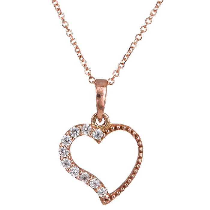 Χειροποίητο κολιέ ροζ gold 14Κ με καρδιά 024490 024490 Χρυσός 14 Καράτια χρυσά κοσμήματα καρδιές