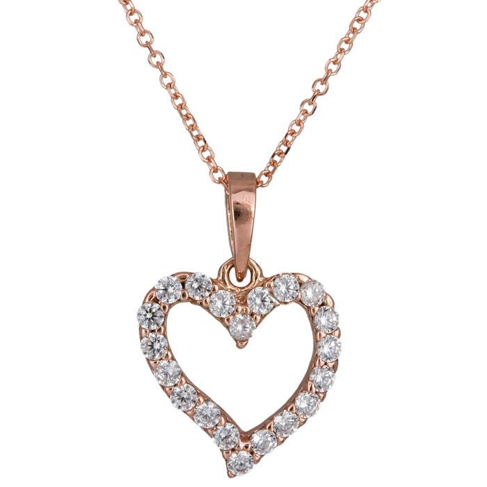Χειροποίητο ροζ gold κολιέ 14Κ με καρδιά από ζιργκόν 024491 024491 Χρυσός 14 Καράτια