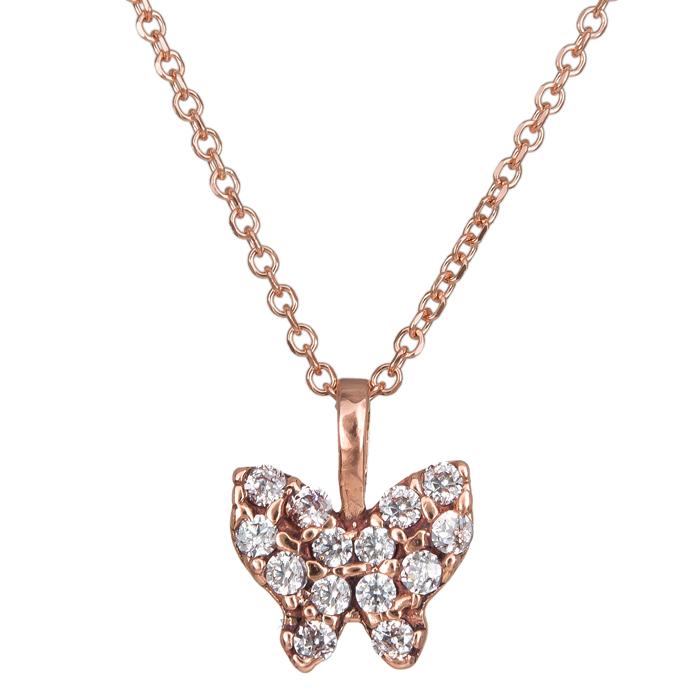 Γυναικείο ροζ gold κολιέ πεταλούδα με ζιργκόν Κ14 024492 024492 Χρυσός 14 Καράτια