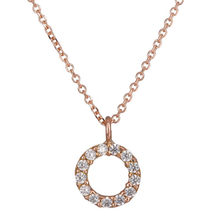 Ροζ gold κολιέ κύκλος 14Κ 024498 024498 Χρυσός 14 Καράτια