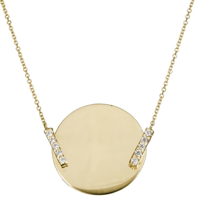 Χρυσό κολιέ πλάκα με πέτρες 14Κ 024529 024529 Χρυσός 14 Καράτια