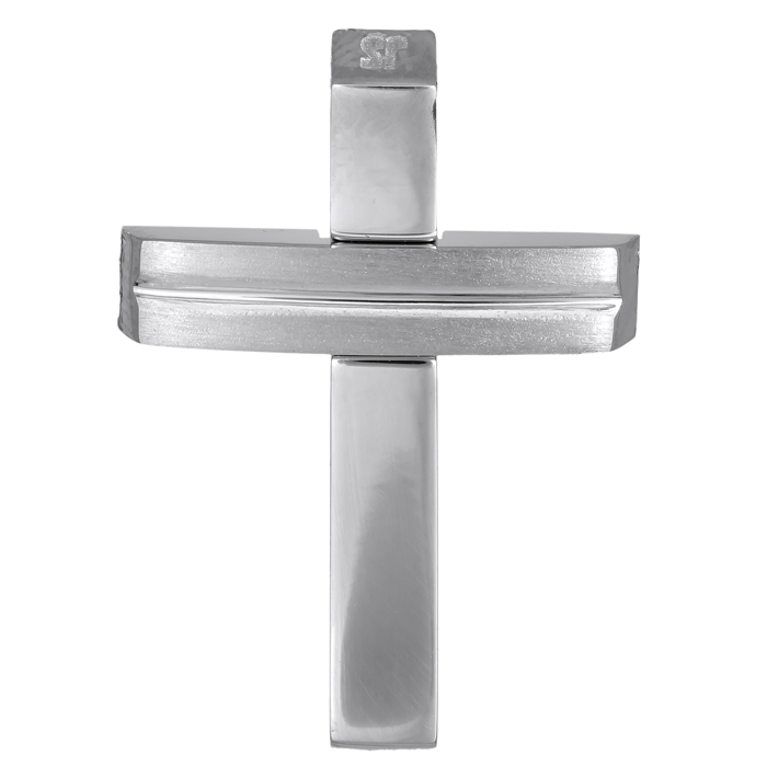 Σταυροί Βάπτισης - Αρραβώνα Λευκόχρυσος ανδρικός σταυρός 14Κ λουστρέ - ματ 024563 024563 Ανδρικό Χρυσός 14 Καράτια