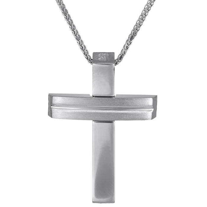 Βαπτιστικοί Σταυροί με Αλυσίδα Λευκόχρυσος σταυρός 14Κ λουστρέ - ματ με αλυσίδα 024563C 024563C Ανδρικό Χρυσός 14 Καράτια