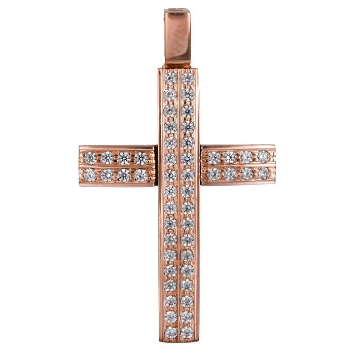 Σταυροί Βάπτισης - Αρραβώνα Γυναικείος σταυρός πετράτος ροζ gold 14Κ 024565 024565 Γυναικείο Χρυσός 14 Καράτια