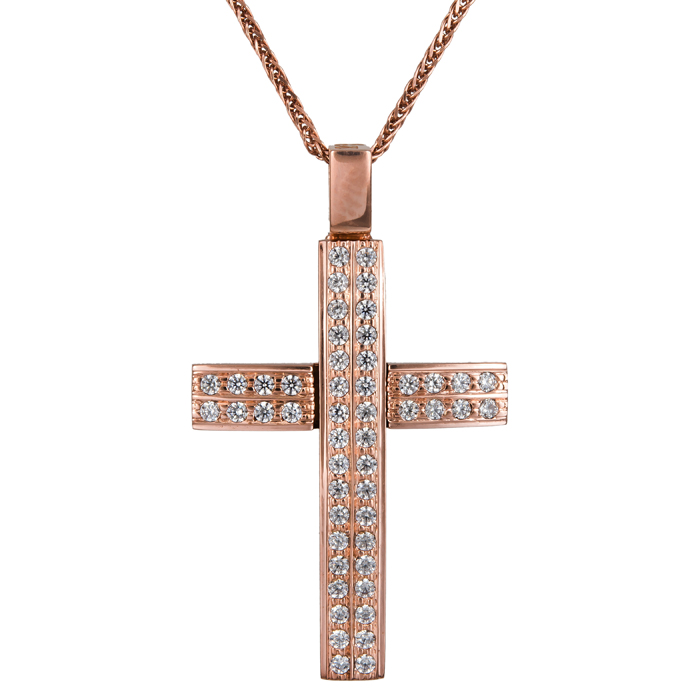 Βαπτιστικοί Σταυροί με Αλυσίδα Ροζ gold γυναικείος σταυρός πετράτος 14Κ 024565C 024565C Γυναικείο Χρυσός 14 Καράτια