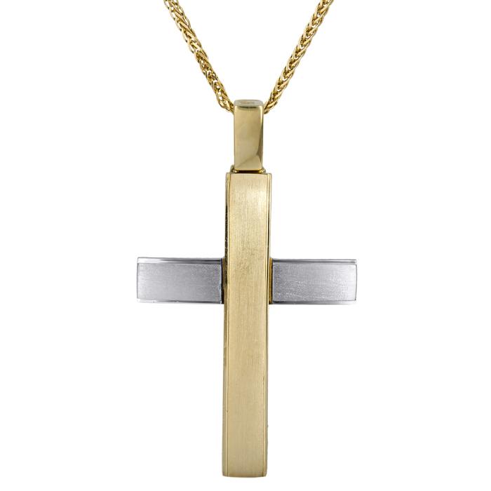 Βαπτιστικοί Σταυροί με Αλυσίδα Ματ δίχρωμος σταυρός με αλυσίδα 14Κ 024571C 024571C Ανδρικό Χρυσός 14 Καράτια