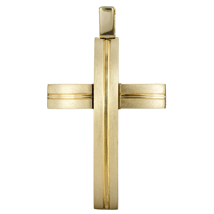 Σταυροί Βάπτισης - Αρραβώνα Χρυσός σταυρός διπλής όψης 14Κ 024576 024576 Ανδρικό Χρυσός 14 Καράτια