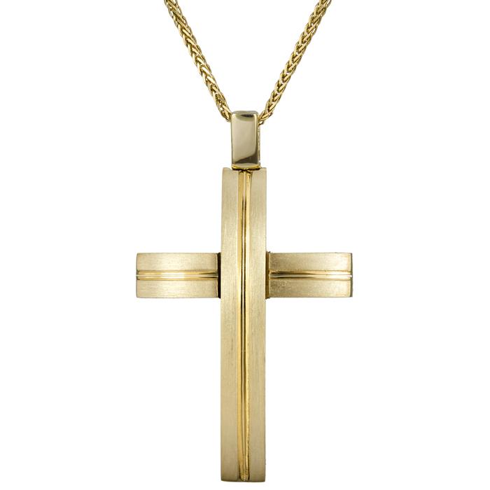 Βαπτιστικοί Σταυροί με Αλυσίδα Βαπτιστικός σταυρός διπλής όψης 14Κ 024576C 024576C Ανδρικό Χρυσός 14 Καράτια