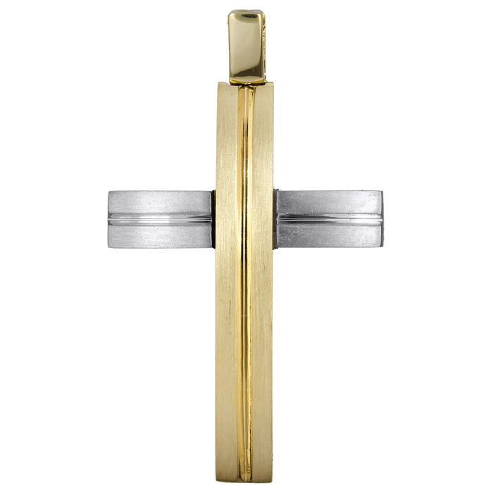 Σταυροί Βάπτισης - Αρραβώνα Δίχρωμος σταυρός διπλής όψης 14Κ 024577 024577 Ανδρικό Χρυσός 14 Καράτια