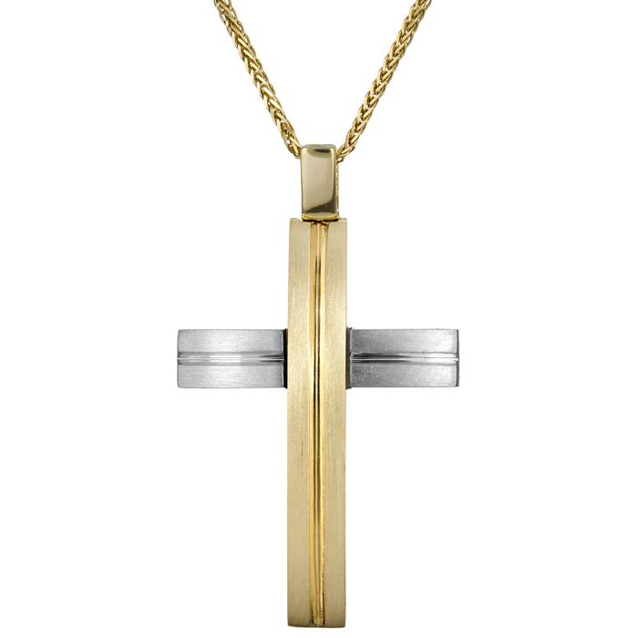Βαπτιστικοί Σταυροί με Αλυσίδα Δίχρωμος σταυρός διπλής όψης 14Κ 024577C 024577C Ανδρικό Χρυσός 14 Καράτια