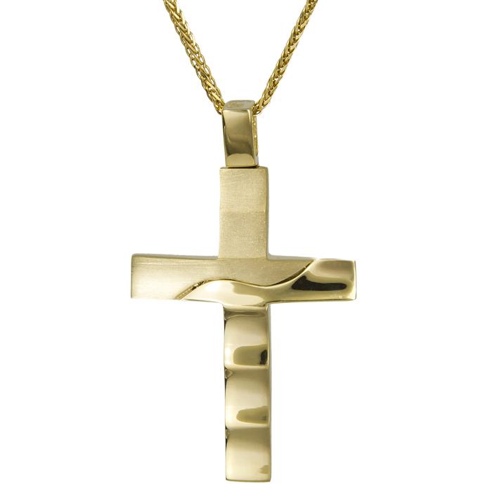 Βαπτιστικοί Σταυροί με Αλυσίδα Χρυσός σταυρός βάπτισης με αλυσίδα 14Κ 024581C 024581C Ανδρικό Χρυσός 14 Καράτια