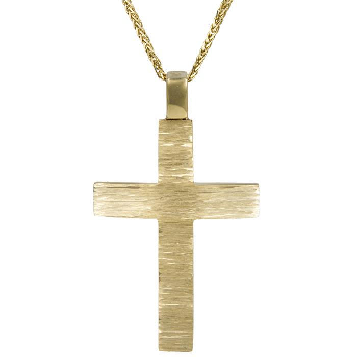 11a7e23af252 Βαπτιστικοί Σταυροί με Αλυσίδα Αντρικός χρυσός σταυρός Κ14 C024583 024583C  Ανδρικό Χρυσός 14 Καράτια