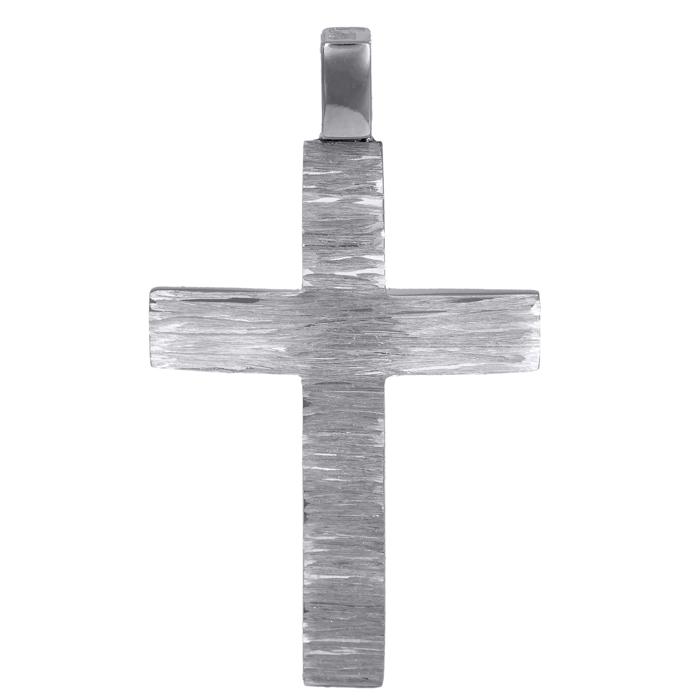 Σταυροί Βάπτισης - Αρραβώνα Λευκόχρυσος ανάγλυφος σταυρός Κ14 024584 024584 Ανδρικό Χρυσός 14 Καράτια