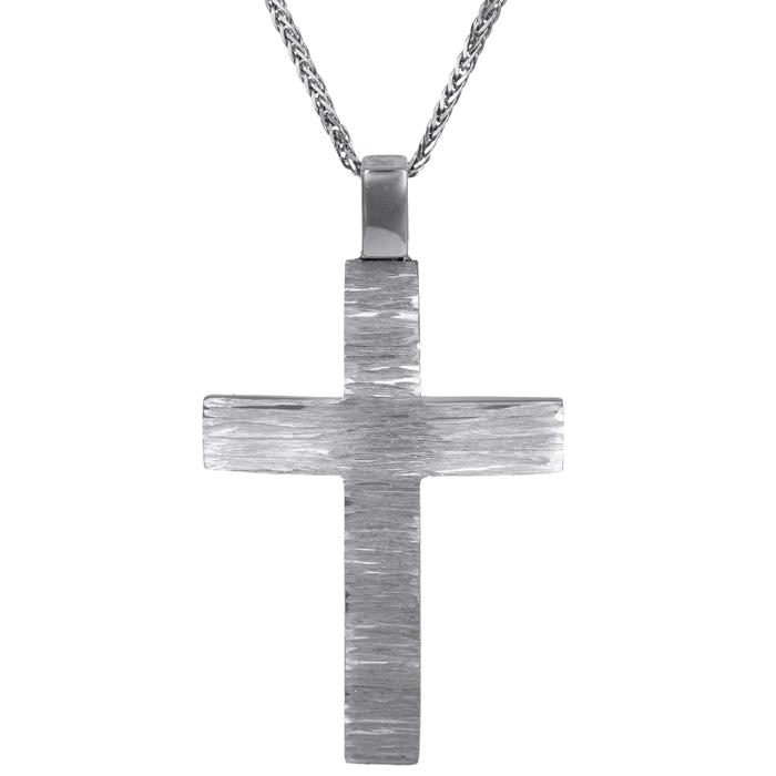 Βαπτιστικοί Σταυροί με Αλυσίδα Ανάγλυφος σταυρός με αλυσίδα Κ14 C024584 024584C Ανδρικό Χρυσός 14 Καράτια