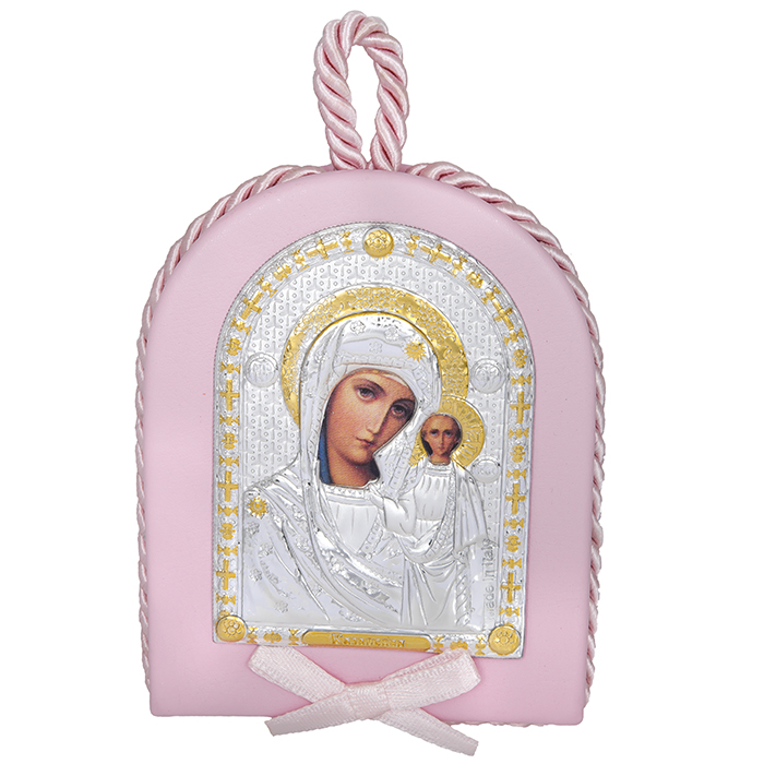 Ροζ ασημένια εικόνα 925 με την Παναγία του Καζάν 024586 024586 Ασήμι