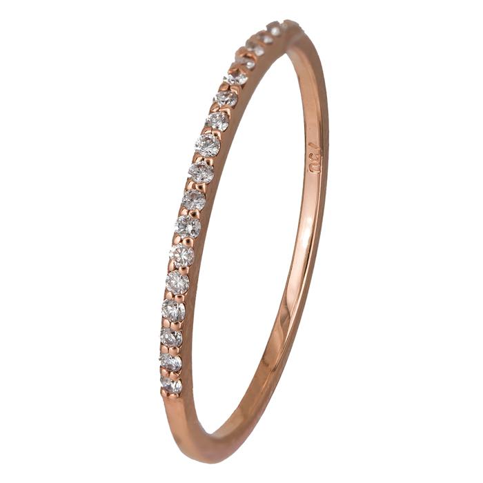Ροζ gold δαχτυλίδι με διαμάντια Κ18 024589 024589 Χρυσός 18 Καράτια χρυσά κοσμήματα δαχτυλίδια σειρέ ολόβερα