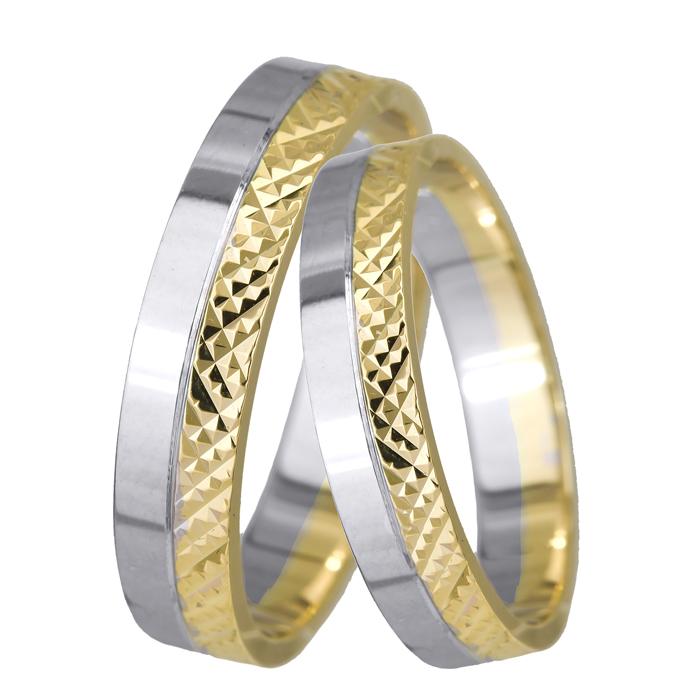 Βέρες γάμου δίχρωμες Κ9 024596 024596 Χρυσός 9 Καράτια