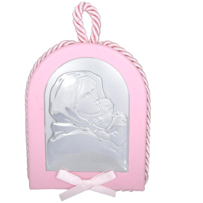 Κρεμαστή ασημένια εικόνα με Παναγίτσα 925 ροζ 024607 024607 Ασήμι