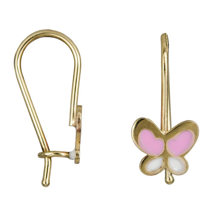 Παιδικά χρυσά σκουλαρίκια ροζ πεταλούδες Κ9 024612 024612 Χρυσός 9 Καράτια