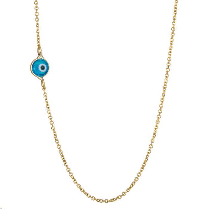 Γυναικείο κολιέ με ματάκι Κ9 024613 024613 Χρυσός 9 Καράτια χρυσά κοσμήματα κολιέ