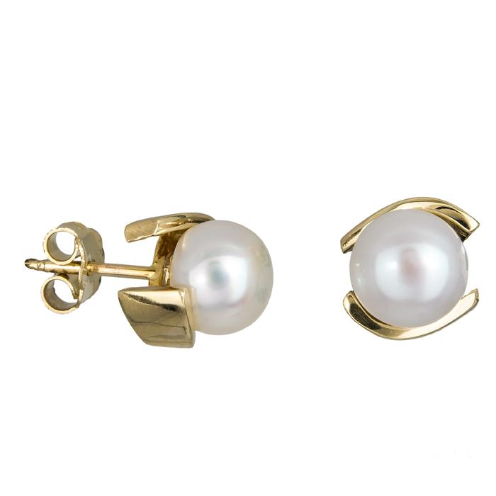 Σκουλαρίκια χρυσά Κ14 με μαργαριτάρια 024621 024621 Χρυσός 14 Καράτια χρυσά κοσμήματα σκουλαρίκια καρφωτά