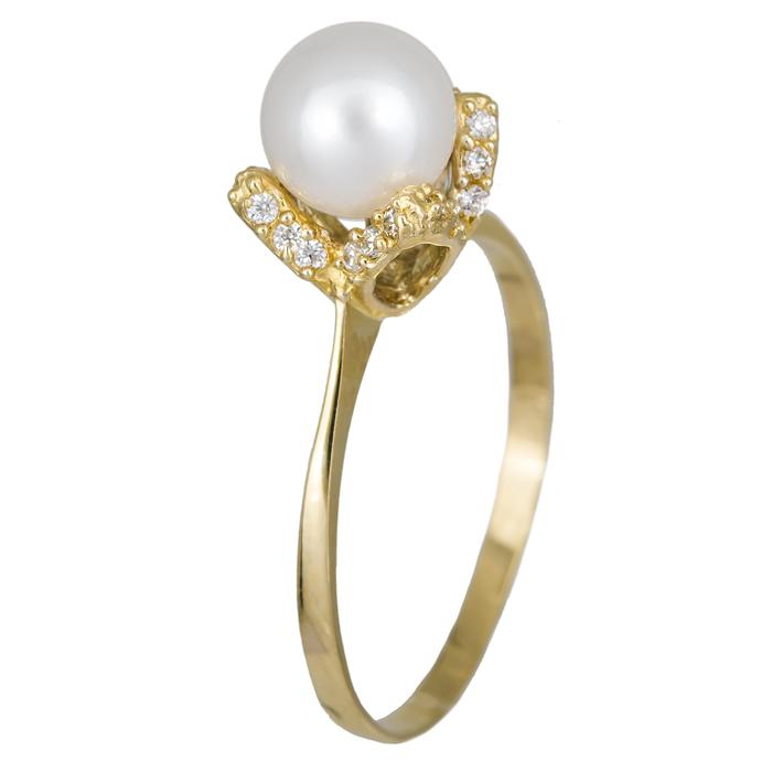 Μαργαριταρένιο χρυσό δαχτυλίδι με κορώνα λουλούδι 14Κ 024622 024622 Χρυσός 14 Καράτια