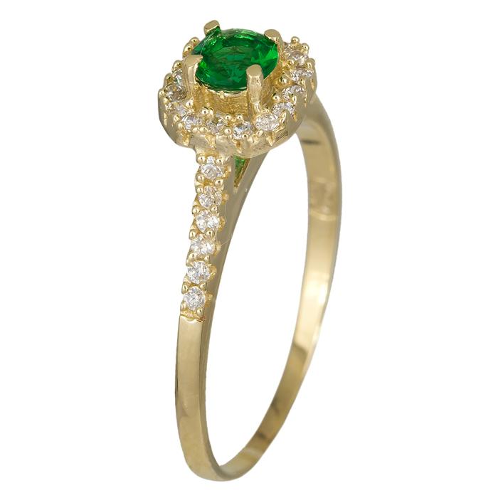 Δαχτυλίδι τετράγωνη ροζέτα με πράσινη πέτρα χρυσό 14Κ 024624 024624 Χρυσός 14 Καράτια