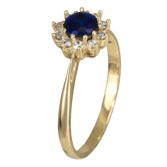 Δαχτυλίδι χρυσό Κ14 ροζέτα με μπλε ζιργκόν 024625 024625 Χρυσός 14 Καράτια