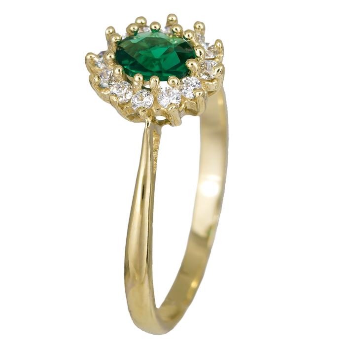 Χρυσό 14Κ γυναικείο δαχτυλίδι πράσινη ροζέτα 024626 024626 Χρυσός 14 Καράτια
