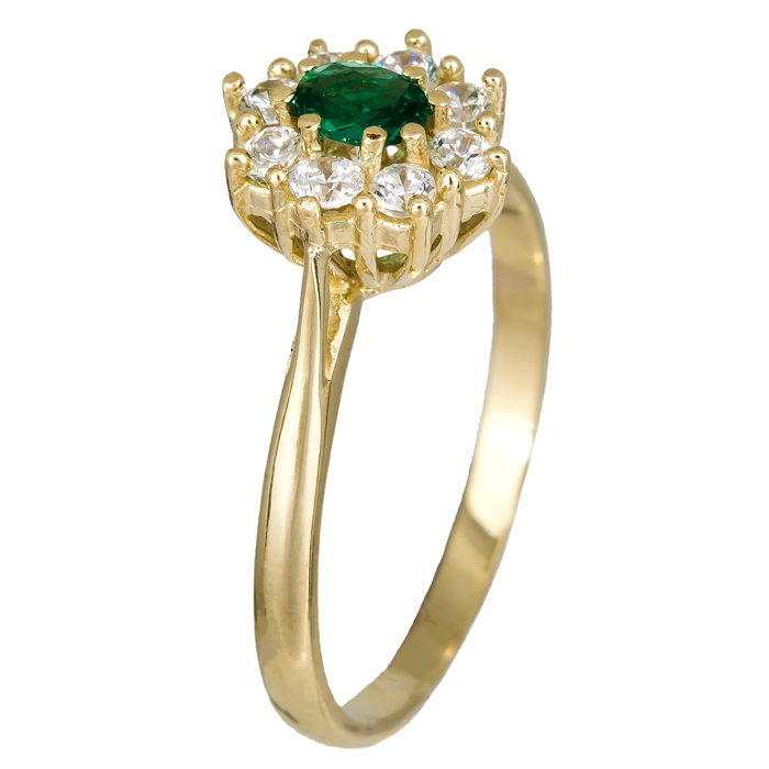 Χειροποίητο χρυσό δαχτυλίδι ροζέτα πράσινη 14Κ 024627 024627 Χρυσός 14 Καράτια