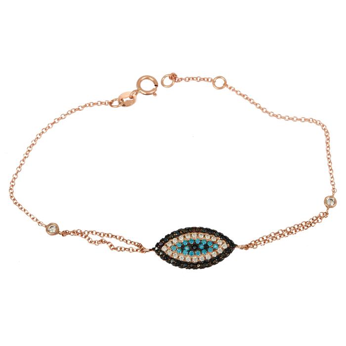 Γυναικείο ροζ gold βραχιόλι Κ14 μάτι με ζιργκόν 024628 024628 Χρυσός 14 Καράτια