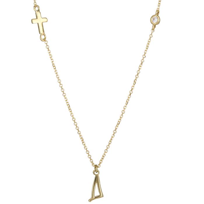 Χρυσό κολιέ με το μονόγραμμα Δ και σταυρό Κ14 024630 024630 Χρυσός 14 Καράτια χρυσά κοσμήματα μονογράμματα
