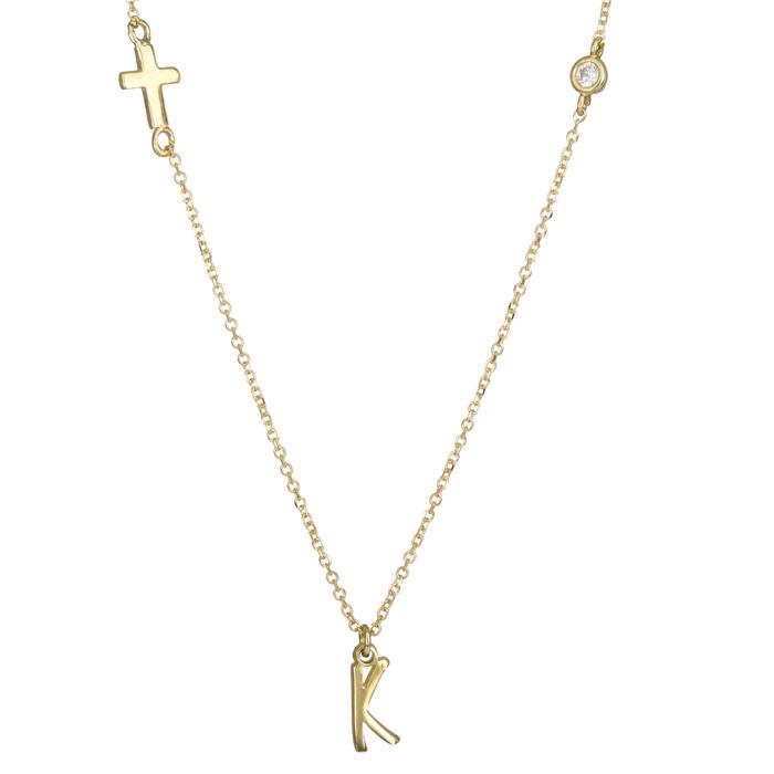 Κολιέ με το μονόγραμμα Κ και σταυρό χρυσό Κ14 024631 024631 Χρυσός 14 Καράτια