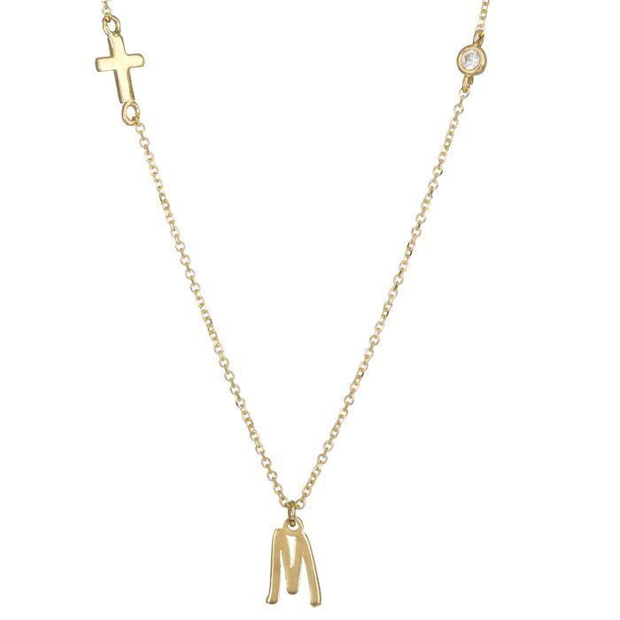 Κολιέ χρυσό Κ14 με το μονόγραμμα Μ και σταυρό 024632 024632 Χρυσός 14 Καράτια
