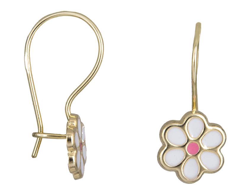 Χρυσά παιδικά σκουλαρίκια Κ14 λευκό λουλούδι 024644 024644 Χρυσός 14 Καράτια