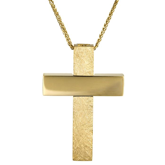 Βαπτιστικοί Σταυροί με Αλυσίδα Αντρικός σταυρός με αλυσίδα 18Κ 024650C 024650C Ανδρικό Χρυσός 18 Καράτια