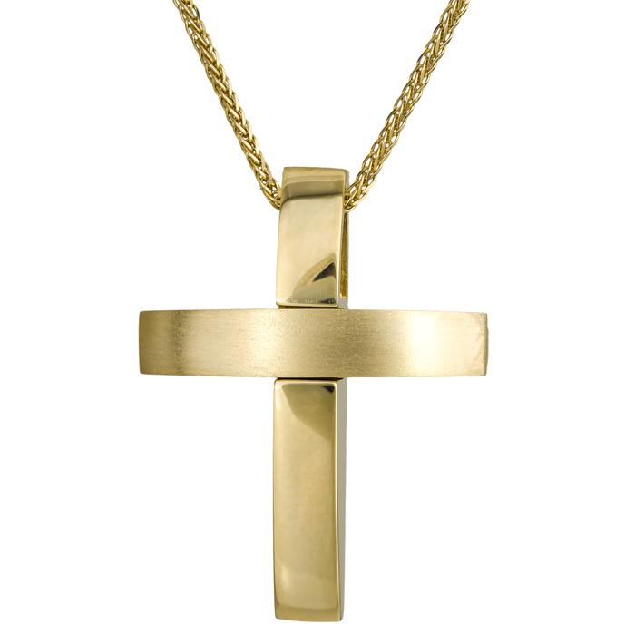 Βαπτιστικοί Σταυροί με Αλυσίδα Χρυσός σταυρός 18Κ με αλυσίδα 024651C 024651C Ανδρικό Χρυσός 18 Καράτια