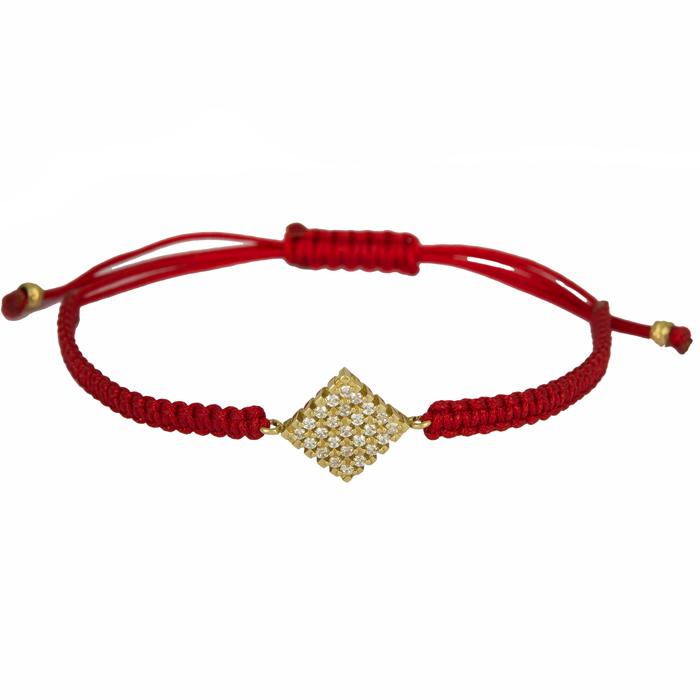Κόκκινο μακραμέ με πετράτο μοτίφ 14Κ 024663 024663 Χρυσός 14 Καράτια