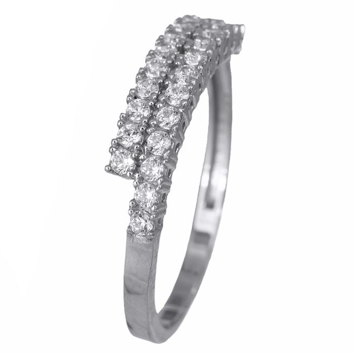 Δαχτυλίδι δίσειρο με ζιργκόν 14Κ 024676 024676 Χρυσός 14 Καράτια