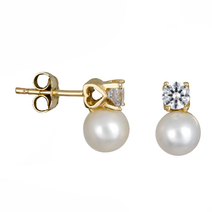 Γυναικεία σκουλαρίκια με μαργαριτάρια Κ14 024679 024679 Χρυσός 14 Καράτια