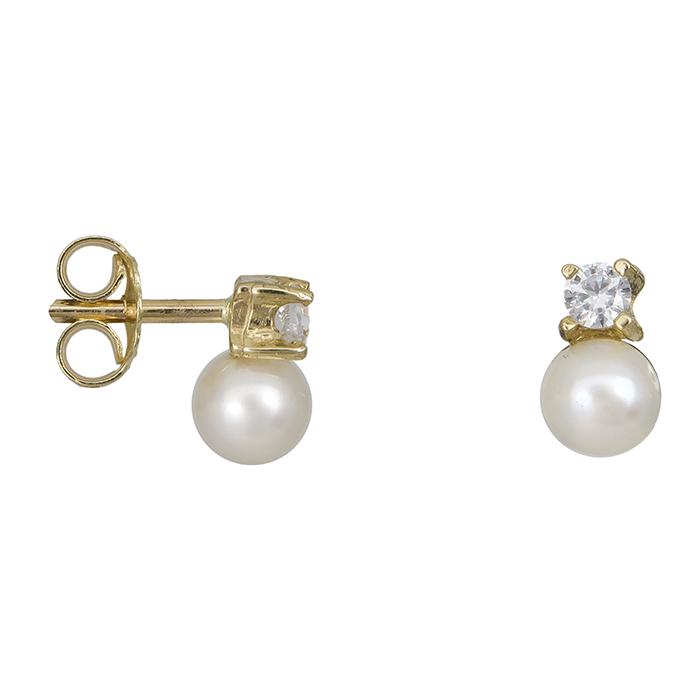Χρυσά σκουλαρίκια με μαργαριτάρια και ζιργκόν Κ14 024680 024680 Χρυσός 14 Καράτια