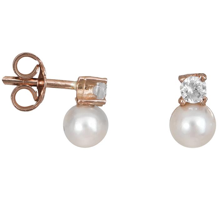 Ροζ gold σκουλαρίκια με μαργαριτάρια Κ14 024682 024682 Χρυσός 14 Καράτια