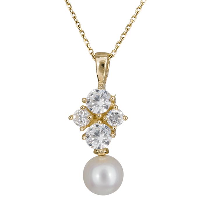 Χρυσό κολιέ με μαργαριτάρι και πέτρες 024683 024683 Χρυσός 14 Καράτια