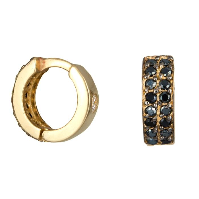 Χρυσά κρικάκια με μαύρες ζιργκόν Κ14 024689 024689 Χρυσός 14 Καράτια