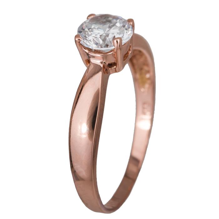 Ροζ gold μονόπετρο με ζιργκόν 14Κ 024690 024690 Χρυσός 14 Καράτια χρυσά κοσμήματα δαχτυλίδια μονόπετρα