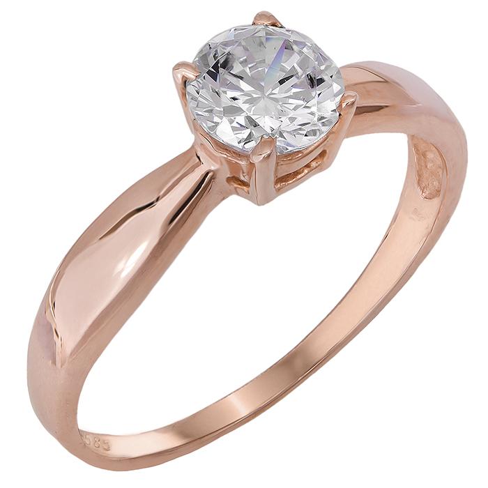 Ροζ gold μονόπετρο με ζιργκόν 14Κ 024690 024690 Χρυσός 14 Καράτια