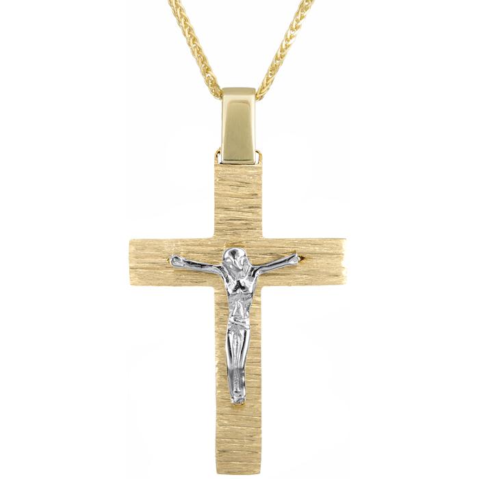 Βαπτιστικοί Σταυροί με Αλυσίδα Βαπτιστικός σταυρός διπλής όψης με αλυσίδα Κ18 024695C 024695C Ανδρικό Χρυσός 18 Καράτια